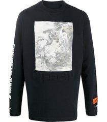 heron preston crew neck heron print sweatshirt - black