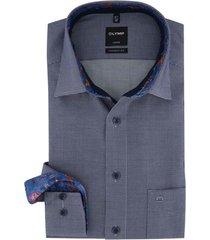 olymp luxor shirt sleeve 7 donkerblauw geruit