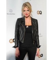 handmade kate upton fashion leather jacket, women black stylish leather jacket