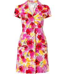 chanel pre-owned camelia print shirt dress - multicolour