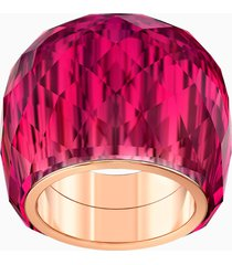 anello swarovski nirvana, rosso, pvd tonalitã oro rosa