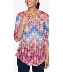 ruby rd. women's misses knit ikat zigzag top