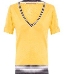 blusa feminina decote retilínea - amarelo