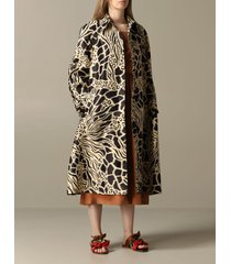 alberta ferretti coat alberta ferretti trench coat in printed glass nylon