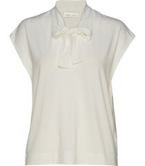 yamini tie_neck top blouses short-sleeved crème inwear