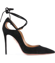 aquazzura ankle-tie 105mm stiletto pumps - black