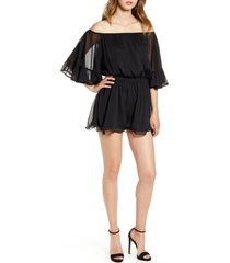women's endless rose off the shoulder ruffle sleeve romper, size small - black