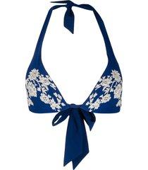 carine gilson padded triangle swim top - blue