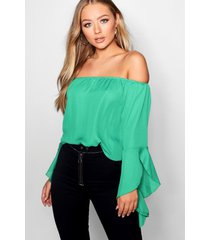 fluted frill sleeve off the shoulder top, green