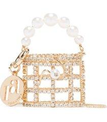 rosantica bolsa holli dourada com cristais - metálico