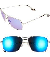 maui jim wiki wiki 59mm polarizedplus2 aviator sunglasses - silver/ blue hawaii