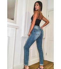 tall denim embellished mom jeans, light blue