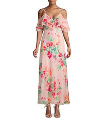 floral ruffle cold-shoulder maxi dress