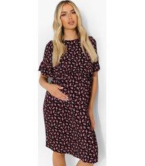 zwangerschap gesmokte bloemenprint borstvoeding jurk, black
