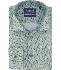 blauw overhemd ledub modern fit groene print