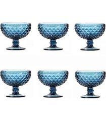 conjunto de 6 taças de sobremesa em vidro bico de abacaxi 260ml lyor azul
