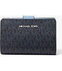 mk portafoglio a libro jetsettravel con logo - celeste chiaro (blu) - michael kors