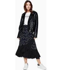 black and white spot wrap midi skirt - monochrome