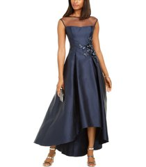 adrianna papell illusion high-low gown