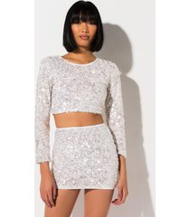 akira snow down sequin crop top