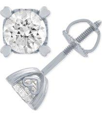 certified diamond stud earrings in heart shape prongs (3/4 ct. t.w.) in 14k white or rose gold