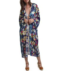 lulla collection by bindya women's floral kimono coverup - blue multicolor