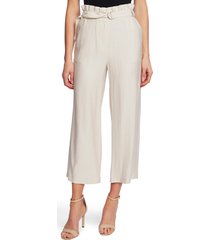 women's cece paperbag waist rumple wide leg crop pants, size 12 - ivory