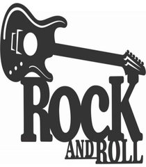 enfeite decorativo mãºsica rock and roll silhueta 31x44x1cm - preto - dafiti