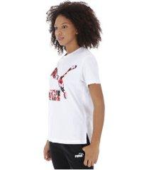 camiseta puma classics logo - feminina - branco