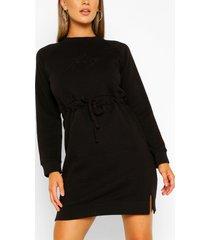 honey embroidered sweater dress, black