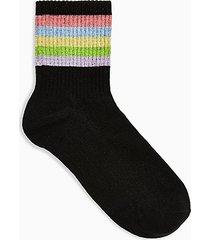 black glitter rainbow socks - black