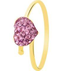 anello cuore in oro giallo e strass rosa per bambini