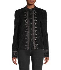 free people women's maven studded and embroidered velvet jacket - rio red - size xs