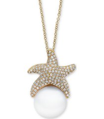 """effy cultured freshwater pearl (11-1/2mm) & diamond (5/8 ct. t.w.) starfish 18"""" pendant necklace in 14k gold"""