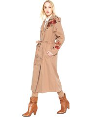 casaco trench coat sarja colcci bordado caramelo