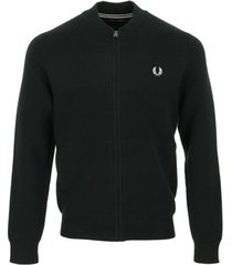 windjack fred perry textured knitted bomber jacket