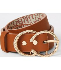 river island girls tan double ring belt