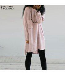 zanzea mujeres más casual de manga larga tapa de la túnica de la blusa camiseta mini vestido corto -rosado