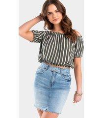 andell stripe off the shoulder blouse - olive