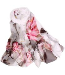 lenço de chiffon estampado aquarelado echarpe feminino