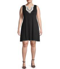 max studio women's plus crochet shift dress - black - size 1x (14-16)