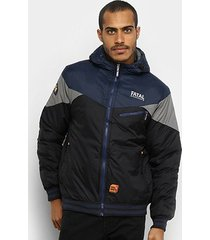 jaqueta fatal nylon capuz recorte masculina
