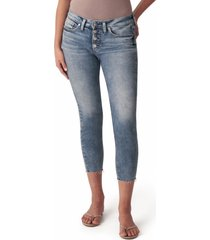women's silver jeans co. suki button fly raw hem crop skinny jeans, size 31 x 26 - blue