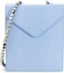 by far women's allegra lizard-embossed phone crossbody bag - blue