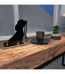 escultura de mesa preto em mdf cachorro amigo com guia de passeio único