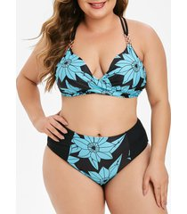 floral twist chain plus size high waisted bikini swimsuit
