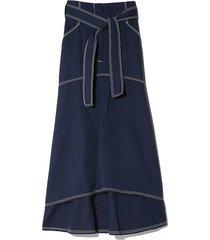 contrast stitch skirt in indigo