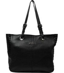 bolsa em couro recuo fashion bag shopper preto/croco