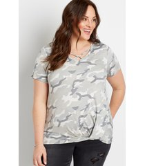 maurices plus size womens 24/7 camo strappy neck knot hem tee gray