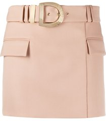 balmain short belted skirt - neutrals